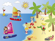 On the beach. Illustration of people on the beach Royalty Free Stock Image