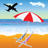 Beach illustration with plane vector. Beach illustration with umbrella and chair and plane silhouette Stock Photography