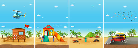 Beach. Illustration of a beach scene with playground and carpark Stock Image