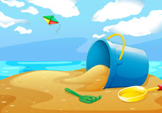 Beach. Illustration of a scene of a beach with toys Stock Images