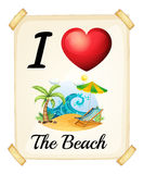 Beach. Illustration of a sign saying i love the beach Stock Photo