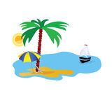 Beach illustration with stuff on white. And boat vector Stock Images