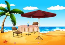 A beach. Illustration of a beach and a table Stock Image