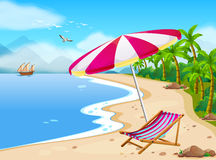 Beach. Illustration of a beach view with umbrella Royalty Free Stock Image