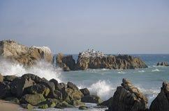 Beach image wave splash big rocks. Vie of Wave splashing big blacks rock in beach in sonny day Royalty Free Stock Photography