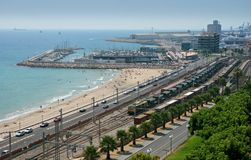 Beach and industry, Tarragona. Aerial view of a beach and industrial facilities in Tarragona, Spain stock photos