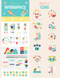 Beach Infographic set. With charts and icons. Vector illustration Royalty Free Stock Photos