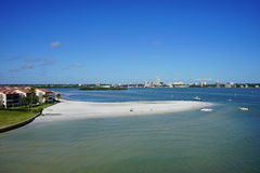 Beach inside the bay. Beautiful clear water man made beach, taken in Tampa Stock Photo