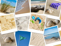Beach instant pictures collage. Sea and ocean  instant pictures collage Stock Photos