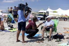 Beach interview Stock Photos