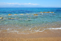 The beach on Ionian Sea at luxury hotel Royalty Free Stock Photography