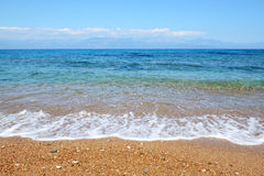 The beach on Ionian Sea at luxury hotel Stock Photo