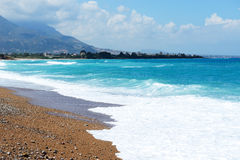 The beach on Ionian Sea at luxury hotel Stock Photography