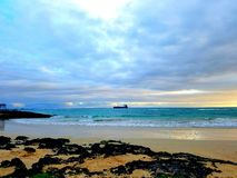Beach. Isabela Galapagos coast ocean ship nature landscape Stock Photos