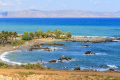 Beach on the island of Crete. Greece. View of the beach on the island of Crete. Greece Stock Photo