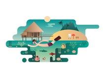 Beach island design flat concept Royalty Free Stock Photography