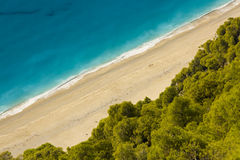 Beach on Island of Lefkada. One of the most beuatiful beach on the west coast of Greek island Lefkada. This one is called Milos which means Beach for the lovers Royalty Free Stock Photo