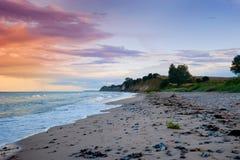Beach on the island Moen, Denmark. Dawn at the coast of the island Moen, Denmark Royalty Free Stock Photo