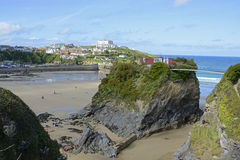 Beach and island at Newquay, Cornwall, England Royalty Free Stock Photography