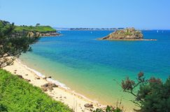 Beach and islands in the Bay of Morlaix. Finistere, English Channel, Brittany, France Royalty Free Stock Photo