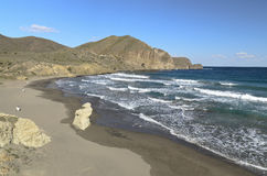Beach at Isleta del Moro village in Cabo de Gata Stock Photos