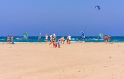Beach on the isthmus Prasonisi. Rhodes Island. Greece Royalty Free Stock Images