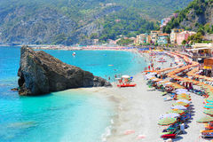 Beach in Italian village Monterosso. In the national park of Cinque Terre Royalty Free Stock Images