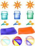 Beach items. Assorted icons related to the beach stock illustration