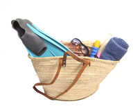 Beach items in basket Royalty Free Stock Images