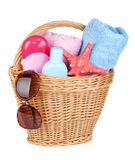 Beach items in basket Royalty Free Stock Photo