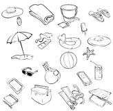Beach items. Collections of items found on a beach Stock Image