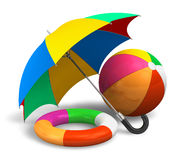 Beach items: color umbrella, ball and lifesaver Royalty Free Stock Image