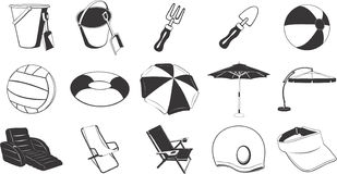 Beach items illustrations Stock Photos