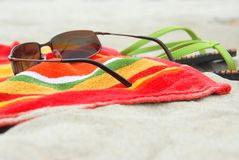 Beach Items On Sand Royalty Free Stock Photography