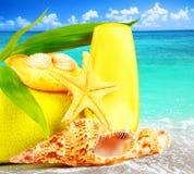 Beach items over blue sea Stock Photos