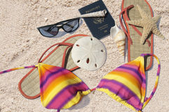 Beach items and passport royalty free stock images