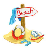 Beach items with the pointer vector illustration