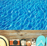 Beach items at pool Royalty Free Stock Images
