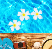 Beach items at pool Royalty Free Stock Photography