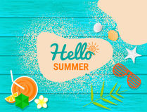 Beach items and Sand on blue wooden with text for summer concep royalty free illustration