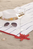 Beach items on sand for fun summer Stock Image