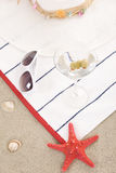 Beach items on sand for fun summer Royalty Free Stock Image