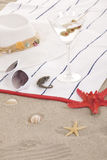 Beach items on sand for fun summer Royalty Free Stock Photography