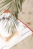 Beach items on sand for fun summer Stock Photo