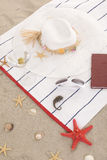 Beach items on sand for fun summer Royalty Free Stock Images