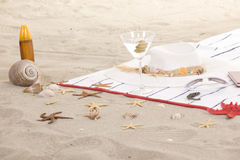 Beach items on sand for fun summer Stock Images