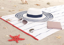Beach items on sand for fun summer Royalty Free Stock Photos