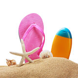 Beach items on sand isolated Royalty Free Stock Image