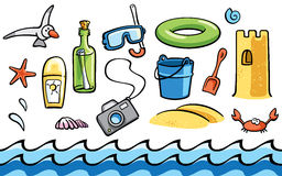 Beach items set Royalty Free Stock Photo