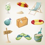 Beach items set. Travel, vacation items. Royalty Free Stock Photo